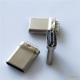 拉伸Type-c公头 7P夹板插头 双排14P短体10.3无缝插头