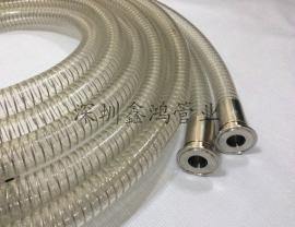 鑫鸿管业*生产不含塑化剂食品级输酒软管-PU透明钢丝平滑管