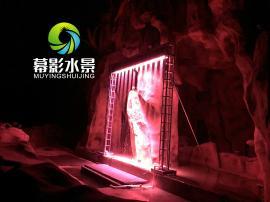 数字水幕配合灯光渲染着水珠,伴随着水幕字的落下图案