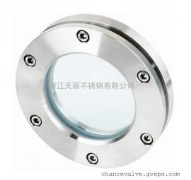 不锈钢法兰视镜DN100圆形对夹视窗乳制品机械设备观察口内六角