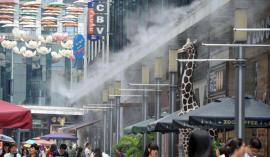 水云间喷雾降温系统,商场步行街店面门头喷雾降温