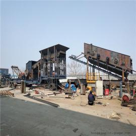 粉碎建筑垃圾设备 轮胎式移动振动筛制砂生产线