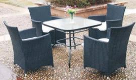 小区桌椅组合-阳台藤编桌椅组合-景区休闲藤编桌椅带遮阳伞