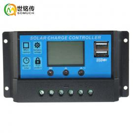 太阳能kong制器12V24V10A/20A/30A带手机充diandian量xian示lidian通用